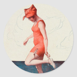 Vintage 20s Swimsuit Pin Up Beach Girl Classic Round Sticker