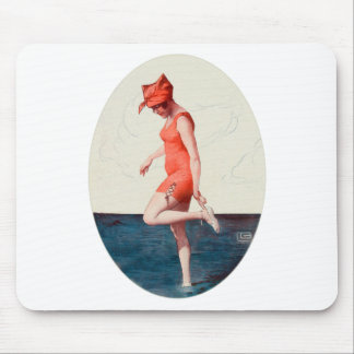 Vintage 20s Swimsuit Pin Up Beach Girl Mouse Pad