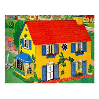 Vintage 20s Toy House Doll House Illustration Postcard