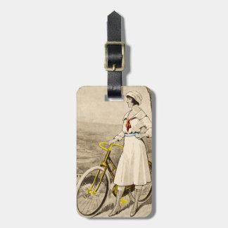 Vintage '20s Woman Bicycle Advertisement Luggage Travel Bag Tag