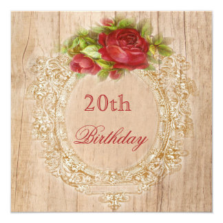 Vintage 20th Birthday Red Rose Wooden Frame Card