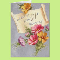 Vintage 21st Birthday Greeting Card