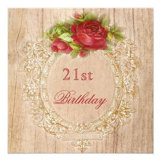 Vintage 21st Birthday Red Rose Wooden Frame Card