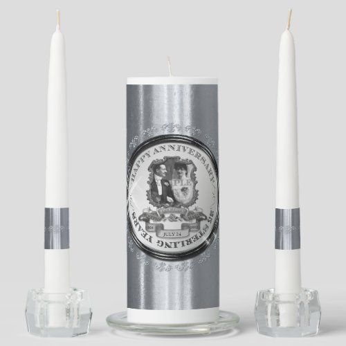 Personalized silver candle set