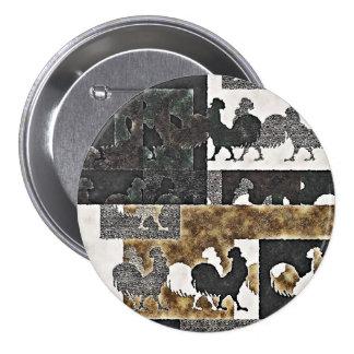 Vintage #2 - botón cuadrado del gallo pin redondo de 3 pulgadas