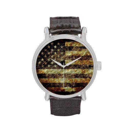 Vintage 2 de la bandera americana reloj de mano