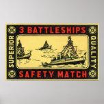 Vintage 3 Battleships Safety Match Label Posters