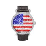 Vintage 3 de la bandera americana reloj