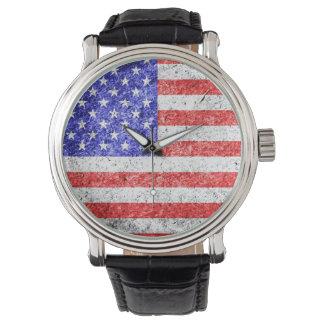 Vintage 3 de la bandera americana reloj de mano