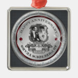 Vintage 40th Anniversary Square Metal Christmas Ornament