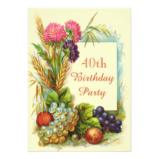 Vintage 40th Birthday Colorful Fruits & Flowers Custom Invites