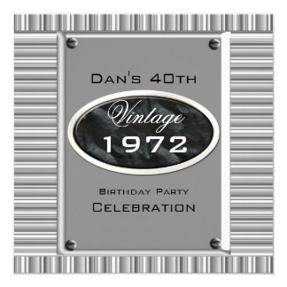 "Vintage 40th Silver Look Image Birthday Party 5.25"" Square Invitation Card"