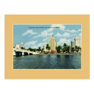 Vintage 41st street Bridge, hotels Miami Beach Postcard