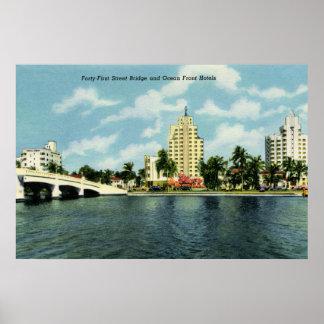 Vintage 41st street Bridge, hotels Miami Beach Print