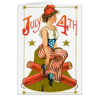 Vintage 4 de julio tarjeta de felicitación