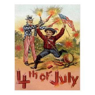 Vintage 4 de julio tarjeta postal