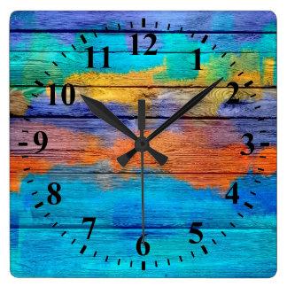 Vintage #4 de pintura abstracto de madera reloj cuadrado