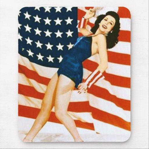 Vintage 4 th of July Pinup Mouse Pads