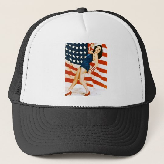 Vintage 4 th of July Pinup Trucker Hat