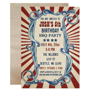 Vintage 4th Of July Birthday Party Invitations at Zazzle