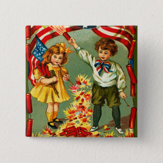 Vintage 4th of July Firecrackers Pinback Button