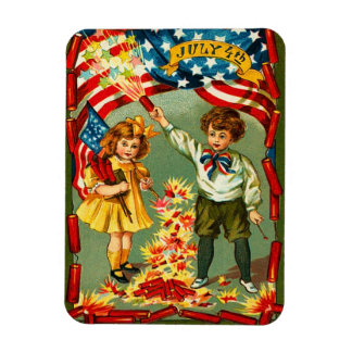Vintage 4th of July Fireworks Rectangular Photo Magnet