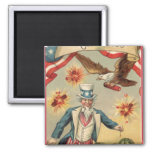Vintage 4th of July Fireworks with Uncle Sam 2 Inch Square Magnet
