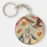 Vintage 4th of July Fireworks with Uncle Sam Basic Round Button Keychain
