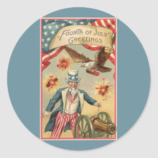 Vintage 4th of July Fireworks with Uncle Sam Classic Round Sticker