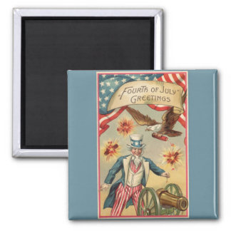 Vintage 4th of July Fireworks with Uncle Sam Magnets
