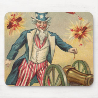 Vintage 4th of July Fireworks with Uncle Sam Mouse Pad