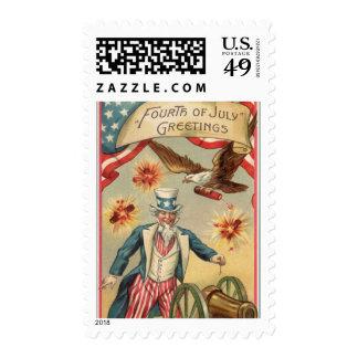Vintage 4th of July Fireworks with Uncle Sam Postage Stamp