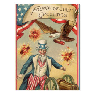 Vintage 4th of July Fireworks with Uncle Sam Postcard