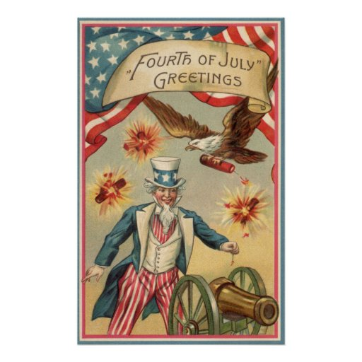 Vintage 4th of July Fireworks with Uncle Sam Posters