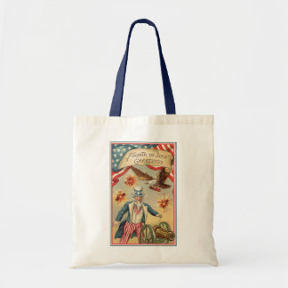 Vintage 4th of July Fireworks with Uncle Sam Tote Bag