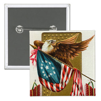 Vintage 4th of July Flag and Eagle Button