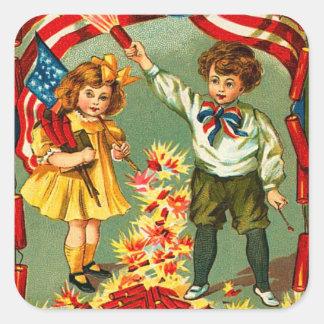 Vintage 4th of July Kids Square Sticker