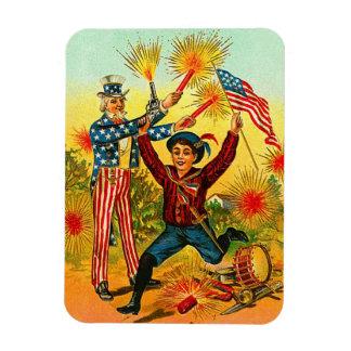 Vintage 4th of July Uncle Sam Rectangular Magnet