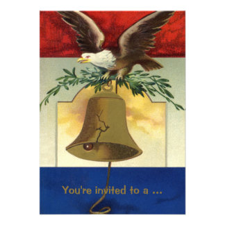 Vintage 4th of July with Eagle and Liberty Bell Invitations