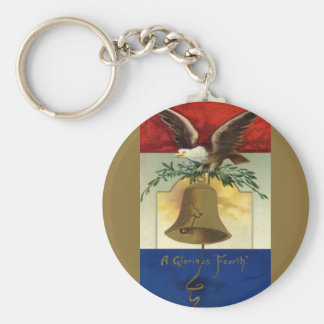 Vintage 4th of July with Eagle and Liberty Bell Basic Round Button Keychain