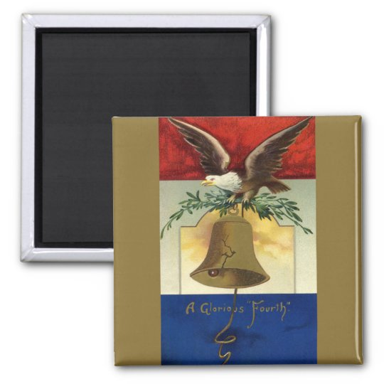 Vintage 4th of July with Eagle and Liberty Bell Magnet