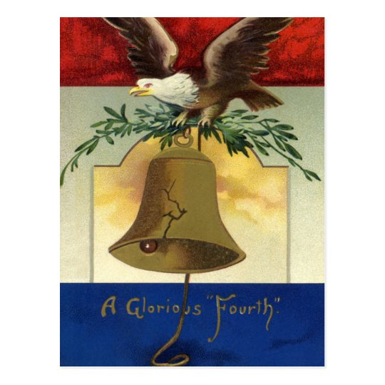 Vintage 4th of July with Eagle and Liberty Bell Postcard