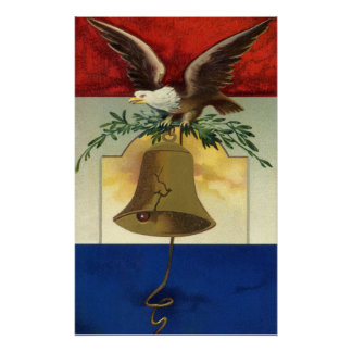 Vintage 4th of July with Eagle and Liberty Bell Poster