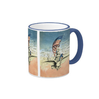 Vintage 4th of July, Woman Riding Eagle with Flag Ringer Mug