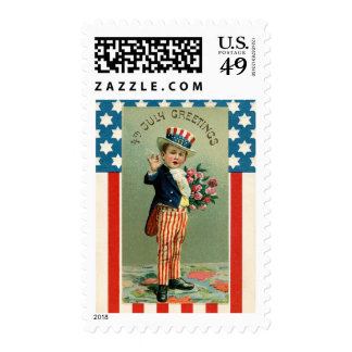 Vintage 4th of July Young Uncle Sam Postage
