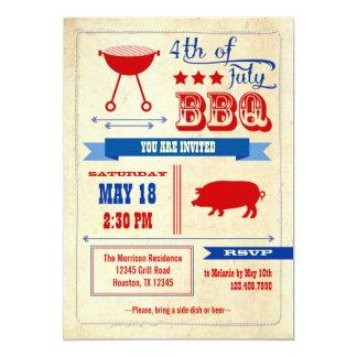 Vintage 4to de la invitación del Bbq de julio