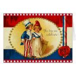 Vintage 4to de la tarjeta de julio