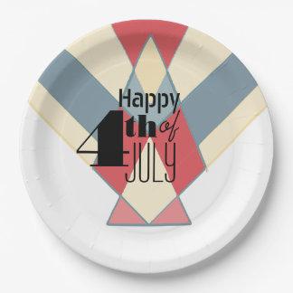 Vintage 4to de las placas del fiesta de la bandera platos de papel