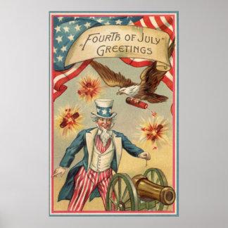 Vintage 4to de los fuegos artificiales de julio co poster