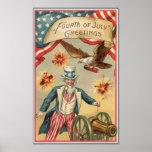 Vintage 4to de los fuegos artificiales de julio póster